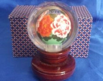 Handpainted Inside Chinese Glass Globe on Wooden Stand. Signed