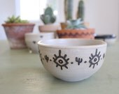 "Small Ceramic Bowl // Eyeball and Cactus Southwestern Decoration Motif // High Fire Glaze // 4.5"" wide x 2.5"" tall"