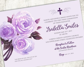 SAMPLE//watercolour Rose COMMUNION Christening Confirmation Religious Invitation // PRINTED Invites