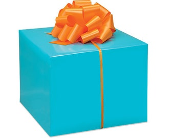 Turquoise Gloss Christmas Script Gift Wrap Paper -15ft