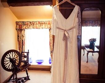 Wedding Dress - Stunning Bespoke Vintage French Lace & Silk Dress - Plus Size (16 / 18)