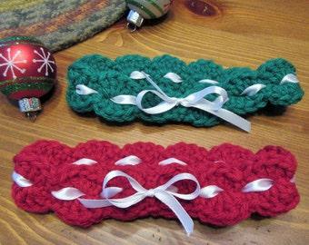 Crochet Baby Headband Set/Newborn Baby Headband/Infant Photo Prop/Baby Christmas Gift Set/Handmade Christmas Gift/Baby Accessory/Red/Green