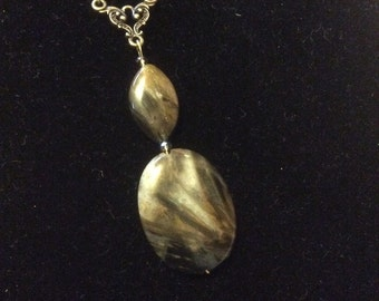 Agate pendant, agate drop necklace, brown agate, agate jewelry, agate necklace