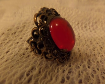 Vintage Brass Big red stone Statement piece ring