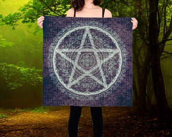 Luxury Silk Pentagram Wicca Altar Cloth or Prayer Scarf silver and purple  ceremony or ritual magic pagan wicca wall hanging