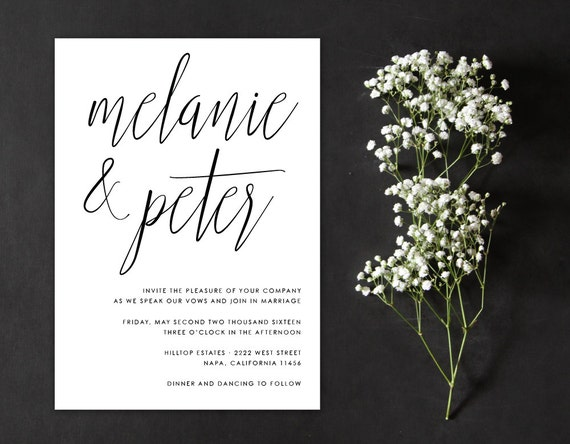 Calligraphy wedding invitation minimalist by alexanelsonprints