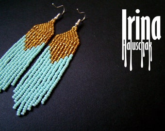 Beaded earrings, seed bead earrings, modern earrings, boho earrings, fringe earrings, beadwork jewelry, turquoise and gold, tribal earrings
