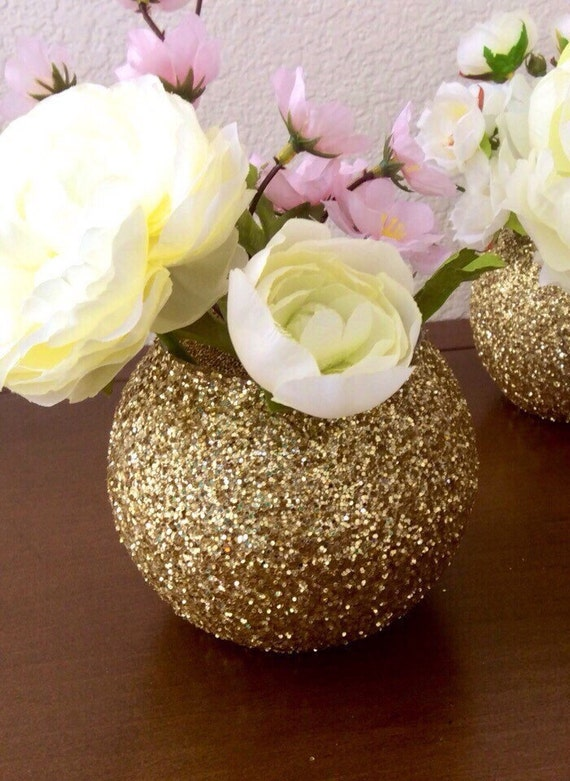 Items similar to gold glitter bubble bowl globe vase