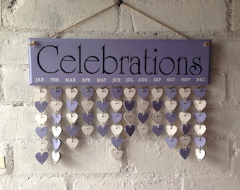 Wooden diary, reminder board, Lilac Sign, celebrations organiser, decorative organiser, birthday, important dates