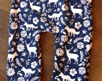 Evolutionary navy pants for girl with deer, foxes, flowers, baby girl pants, girl clothing, baby girl fashion, hunting, Christmas gift