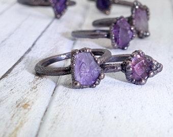 Raw amethyst ring, raw crystal ring, electroformed ring, raw stone ring, amethyst ring, raw ring, February birthstone ring, raw amethyst