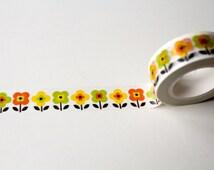 Orla Kiely inspired Floral washi tape, Scandinavian design, Yellow Flower Planner Tape