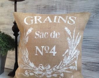 FRENCH BURLAP PILLOW, White Font, Grain Sack,Insert Included