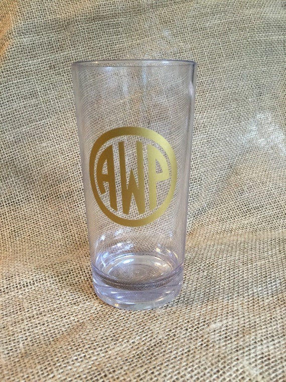 monogrammed acrylic highball glass tumbler bar barware