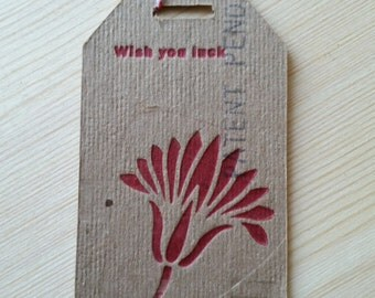 """Recycle cardboard box """"wish you luck"""" hang gift tag 