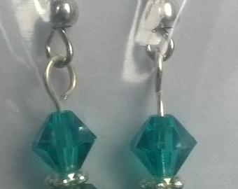 Teal and Aquamarine glass earrings