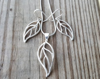 Sterling Silver Jewelry Set - Necklace and Earrings Set -  Silver Leaf Necklace - Leaf Earrings - Leaf Pendant- Gift for Her