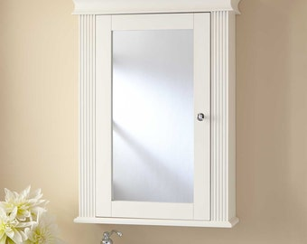 mirror medicine cabinet surface mount or inset into wall with crown and beaded frame