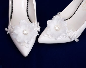 Wedding Lace Pearl Shoe Clips, Bridal Shoes Clips, Wedding Lace Shoe Clips