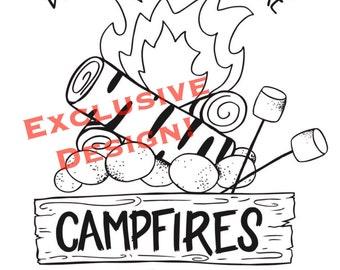 Campfire print Etsy