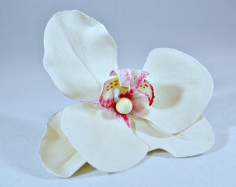 Orchid cake topper, Flower cake decorations, Beach wedding cake topper, Porcelain flowers for celebration cakes, Clay cake toppers,