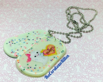Kawaii Cake Ghost Dogtag Necklace, Resin Jewelry