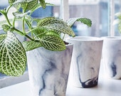 Medium tall small black marbled cement pots / planters for cactus, succulents or candles in black/white porcelain concrete - vase