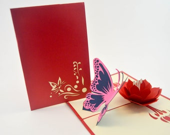 Greeting Card Butterfly - Love Card - Pop Up Card - 3D Valentine Card - Flower Card - Butterfly Card - Proposal - Paper Good