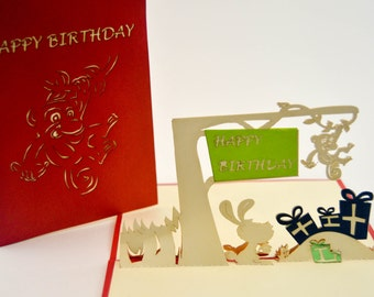 Happy Birthday Greeting Card 3D Greeting Card Birthday Gift Greeting Card Fun Birthday Present Greeting Card Bright Colorful Bday Card