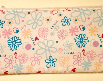 Handmade cotton pencil case / makeup bag - peace, love floral print