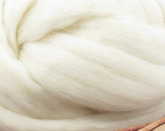Whitefaced Woodland Wool Top Roving - Undyed Natural Spinning & Felting Fiber / 1oz