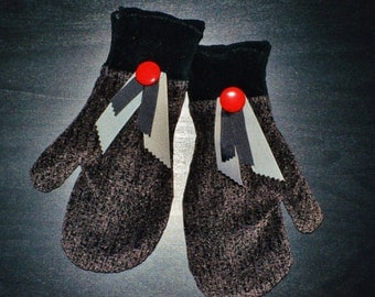 Black Mittens, Grey Mittens, Handmade Mittens, Fleece Lined Mittens, UPcycled Mittens