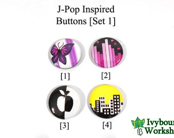 J-Pop / Vocaloid Inspired 1-Inch Pinback Buttons [Set 1]