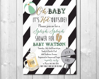 "Baby Shower Invitation...""Splish Splash""/digital file or printing/wording and colors can be changed"