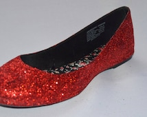 Woman's and Girls Ruby Red Glitter Flats Wizard of Oz Dorothy Costume