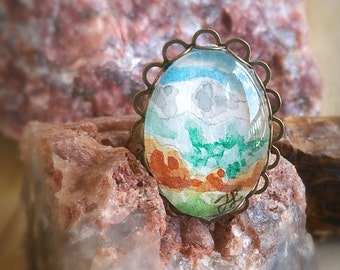 Colorado Ring, Pikes Peak,  Garden of the Gods,  Rocky Mountain Jewelry, Colorado Springs ring. Hand-Painted Wearable Art Watercolor Ring
