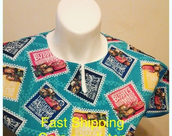 Fast Shipping Cars scrub top  xs to xl with  4 different neck design made to order 100% Cotton