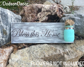 Bless this Home Wood Wall Hanging, Hand Painted, Home Decor, Mason Jar Decor, Bless this Home Decor, Rustic Decor, Shabby Chic Decor, Home