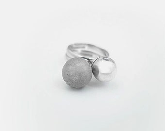 Concrete Ring; Metal Ring; Cement Jewelry; Concrete Metal Rings Set