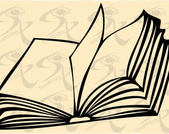 0346_Vector_Open BOOK,SVG,DXF,ai, png, eps, jpg Silhouette,Download files, Digital, graphical
