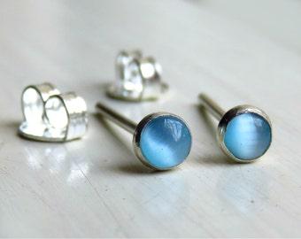 Blue Stud Earrings, Tiny Stud Earrings, Blue Cat Eye Earrings