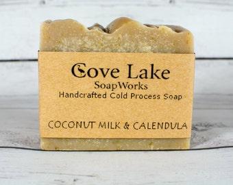 Coconut Milk and Calendula Soap, Handmade Cold Process Soap