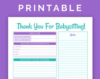 Babysitting Instructions - Printable PDF
