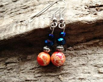 Jasper earrings, gemstones, unique earrings, boho,