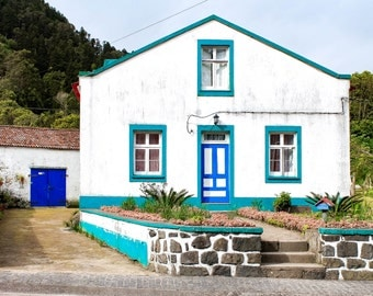Azorean House, Azores, Islands, Portugal, Blue, Sete Cidades, Farm, Photography, Wall Art, Fine Art Prints, Rustic, Photography