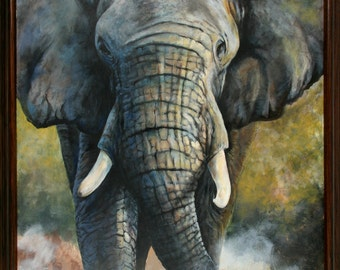 African Elephant acrylic painting 24 in. x 36 in. , framed, hand painted artwork