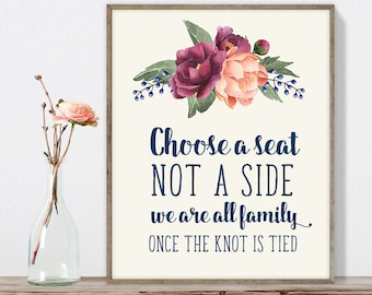 Wedding Seating Sign / Choose a Seat, Not a Side Sign DIY / Burgundy Peony Berry Bouquet, Peach Blush Pink Ranunculus ▷Instant Download JPEG