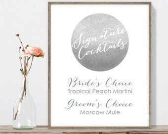 Silver Signature Cocktail Sign / His and Hers Drink / Metallic Silver and Gray / Steel Gray Sign ▷ Printable File {or} Printed & Shipped