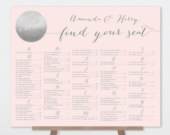 Alphabetical Seating Chart Sign / Metallic Silver and Blush Pink / Blush and Gray / Seating Sign ▷ Printable File {or} Printed & Shipped