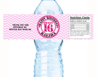20 Chevron Pink Sweet 16 birthday water bottle labels - Sweet 16 Bottle Wraps - Sweet 16 Stickers - Sweet 16 Birthday - Party Supplies